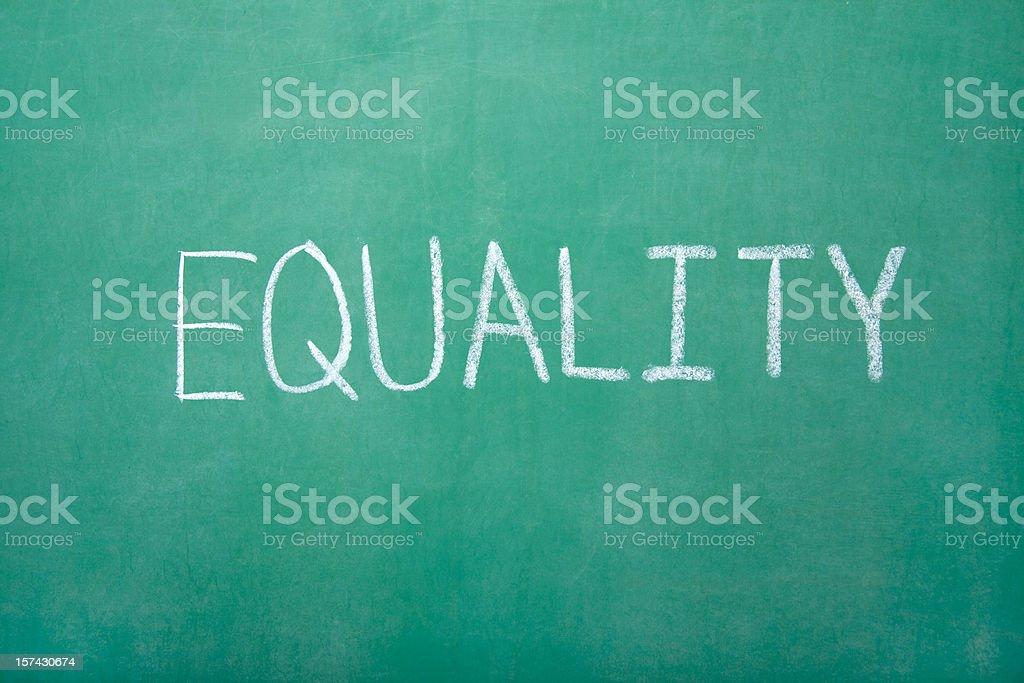 Equailty on Chalkboard stock photo