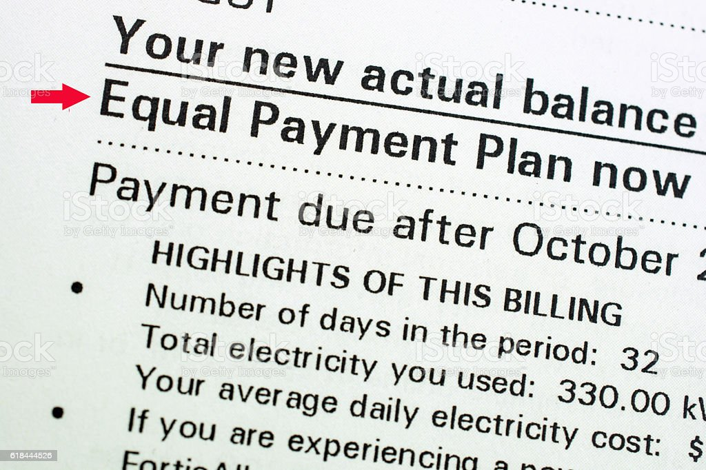 Equal  Payment Plan offerings for utilities and household payments stock photo