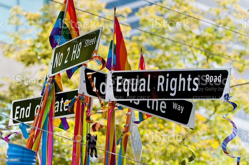 Equal Rights Road Sign stock photo