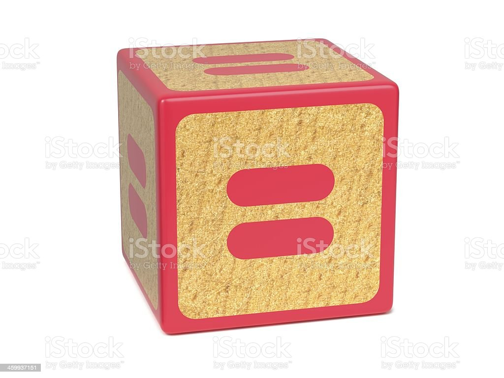 Equal Sign - Childrens Alphabet Block. stock photo