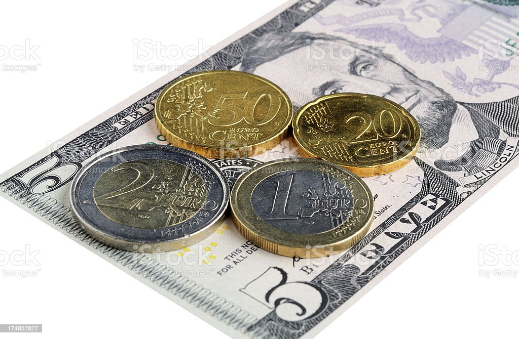Equal value between dollar and euro on white background stock photo