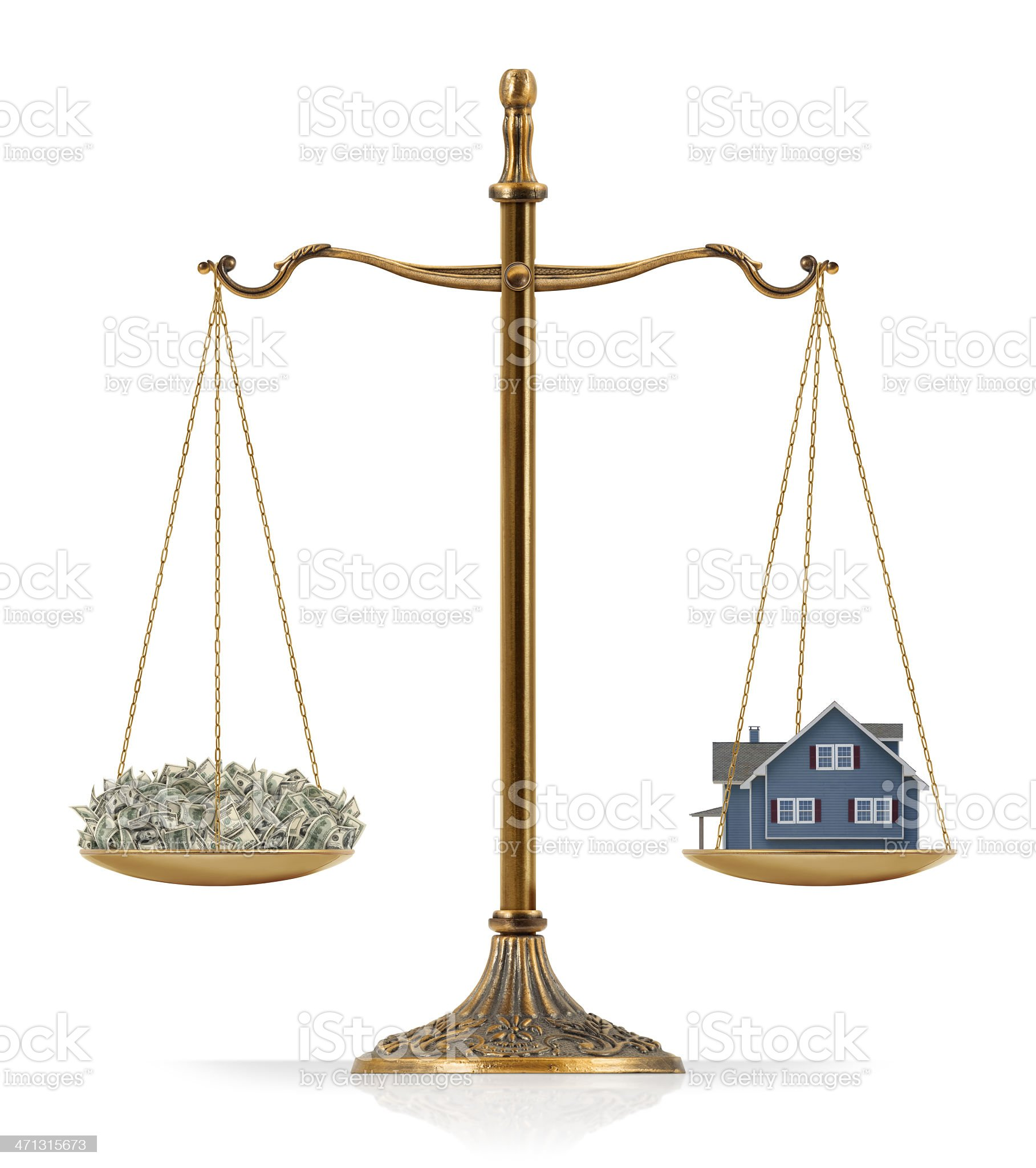 Equal Weighted: Money and House royalty-free stock photo