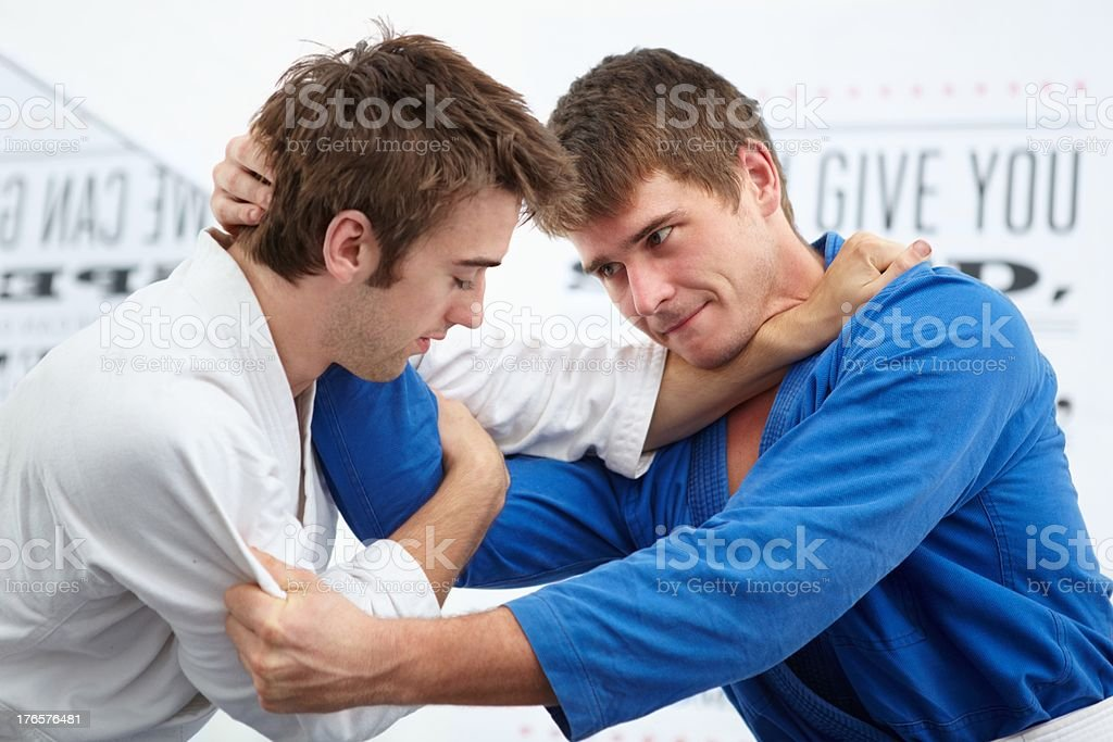 Equally focused on the fight stock photo