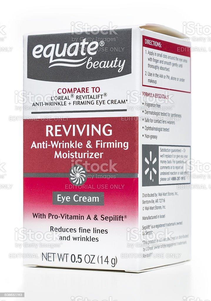 Equate beauty reviving anti-wrinkle & firming eye cream box stock photo