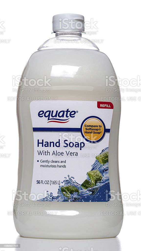 Equate hand soap with aloe vera refill bottle stock photo