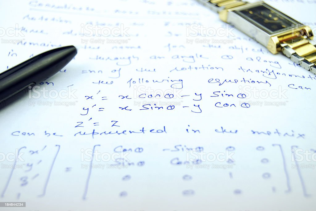 Equation and Matrix form of rotation royalty-free stock photo