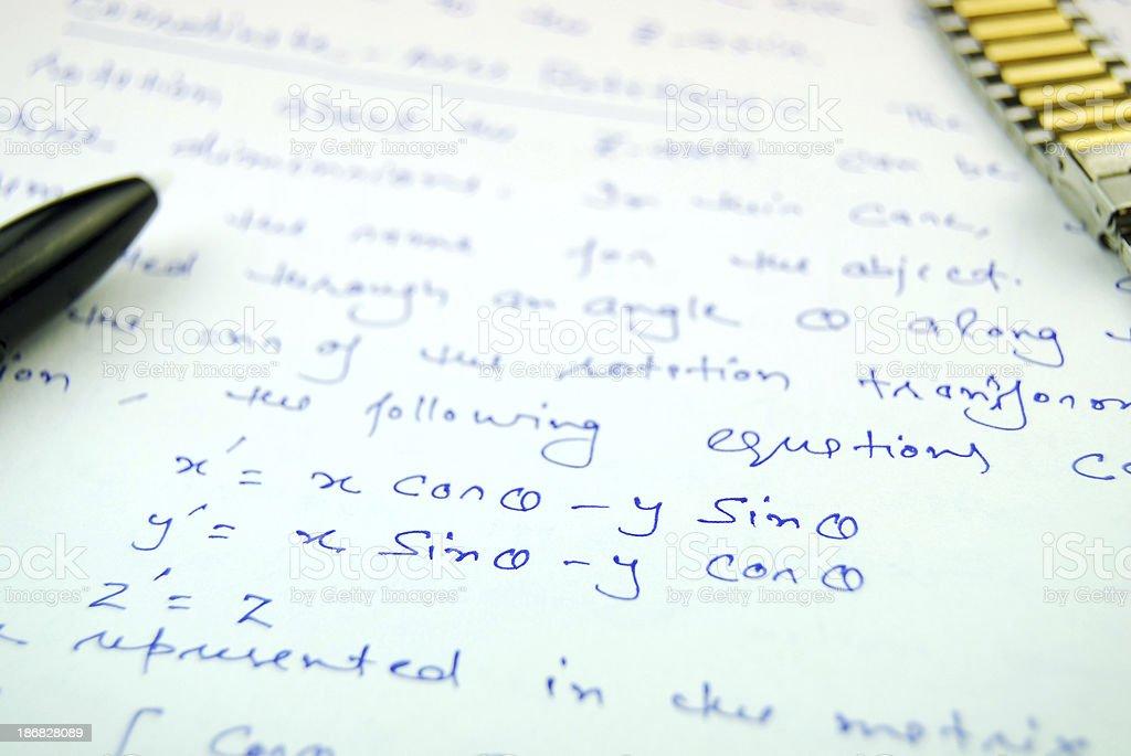 Equation and Matrix form of rotation stock photo