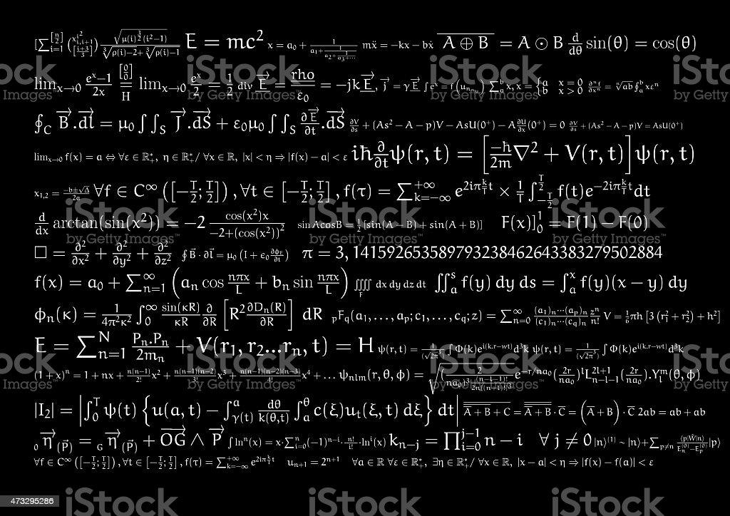 Equations on blackboard stock photo