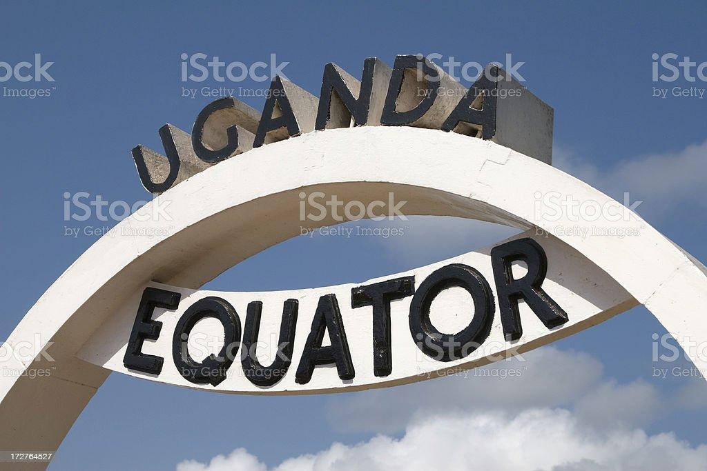 Equator in Uganda stock photo