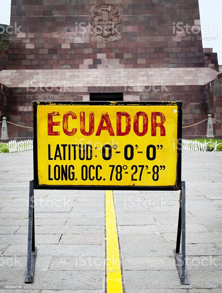 Equator line in Ecuador stock photo
