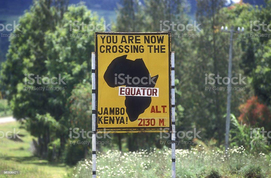 Equator sign in Kenya stock photo