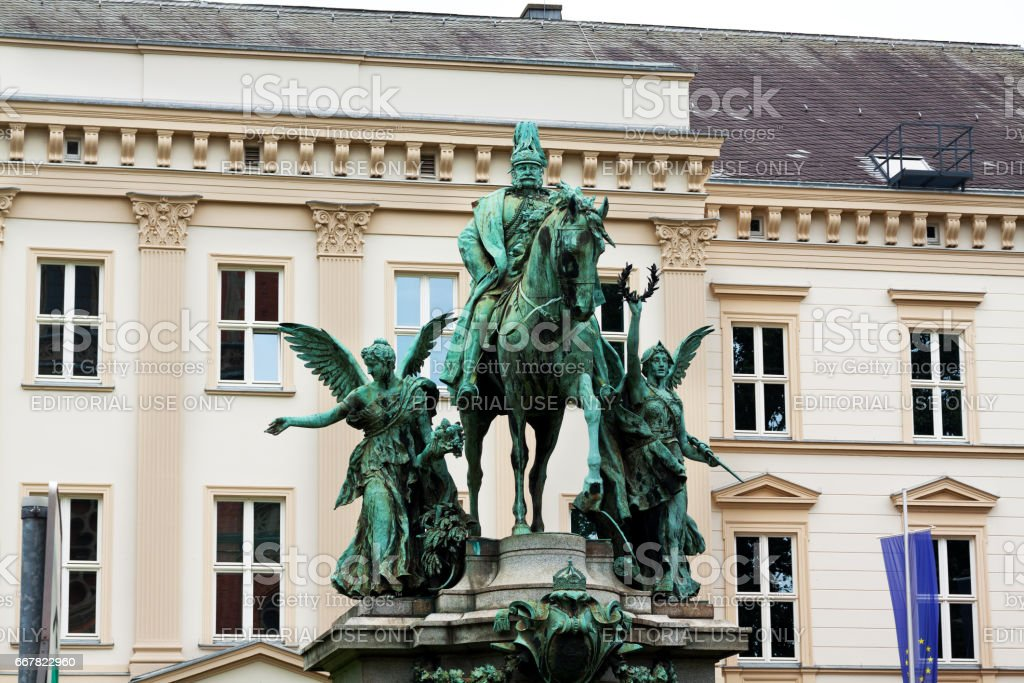 Equestrian monumant of Emperor Wihelm I stock photo