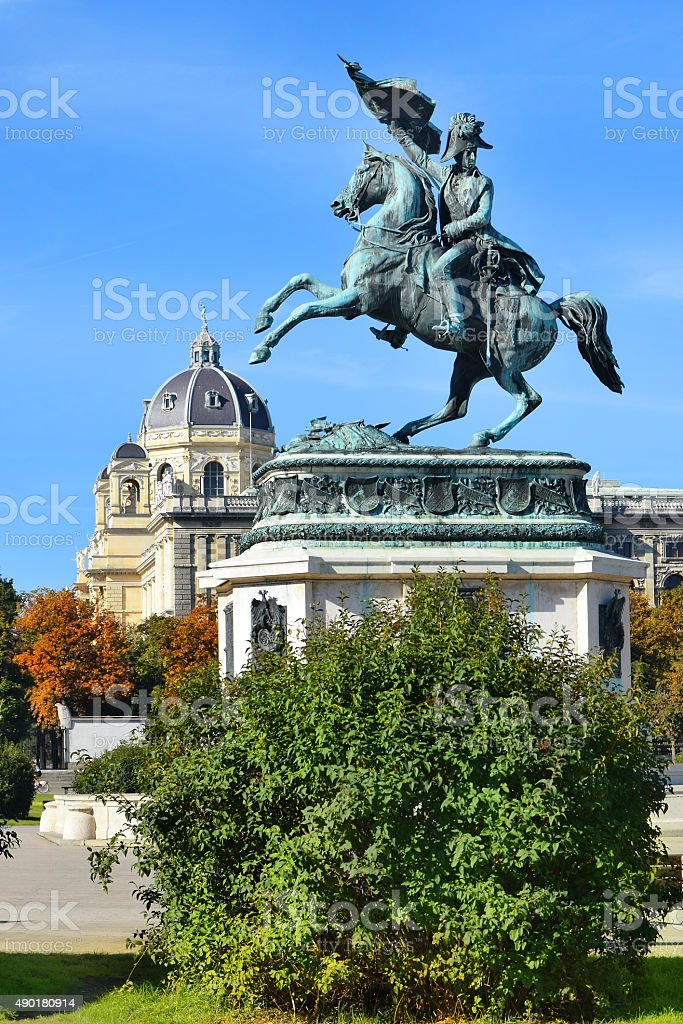 equestrian monument of Archduke Charles, Vienna stock photo