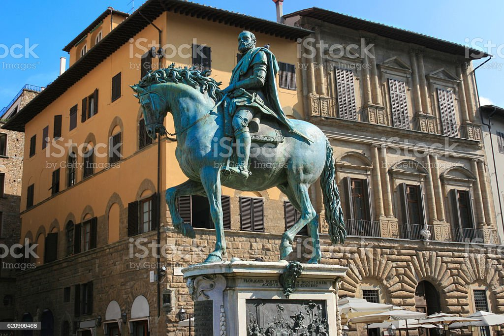 Equestrian Monument of Cosimo I, Piazza della Signoria, Florence, Italy. stock photo