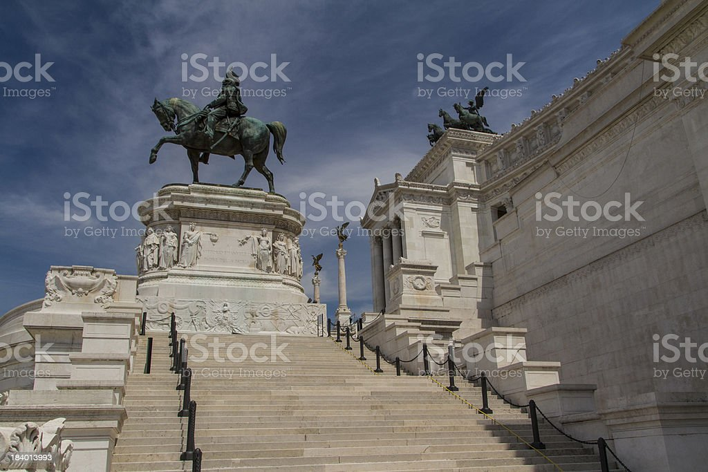 Equestrian monument to Victor Emmanuel II near Vittoriano at day royalty-free stock photo
