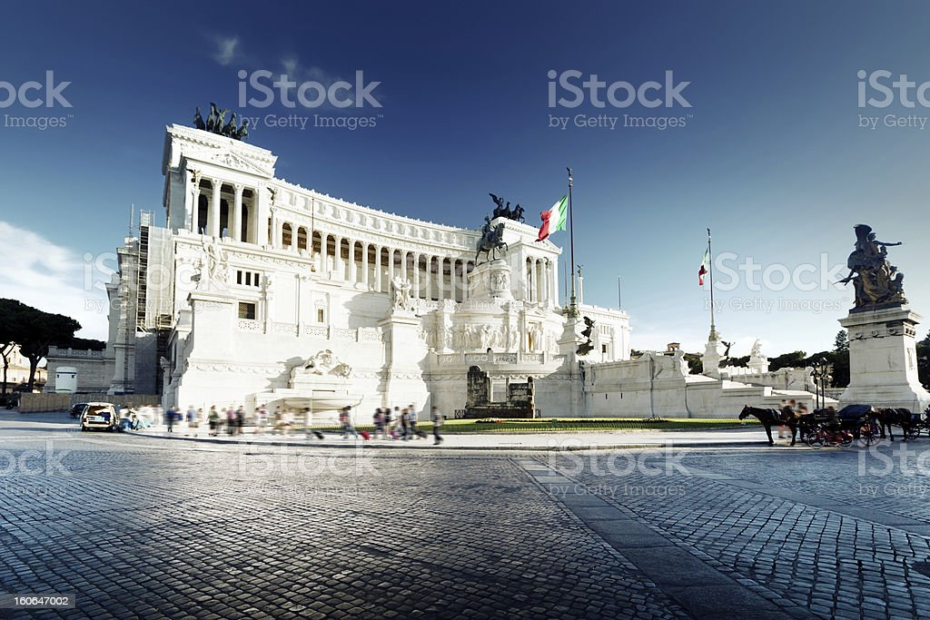 Equestrian monument to Victor Emmanuel II near Vittoriano in Rom royalty-free stock photo