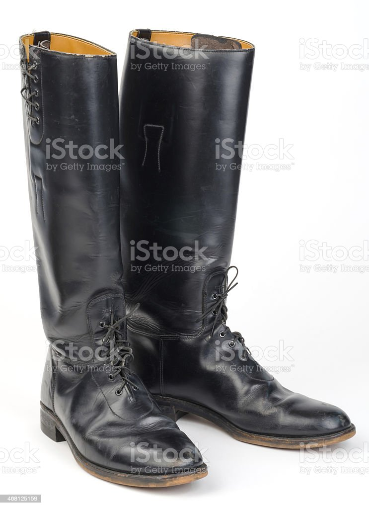 Equestrian or Mounted or Motorcycle Police, Riding Boots. stock photo