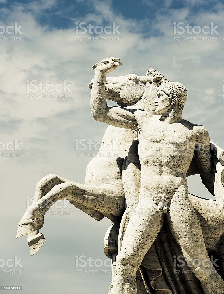 Equestrian sculpture of the Dioscuri, EUR, Rome stock photo