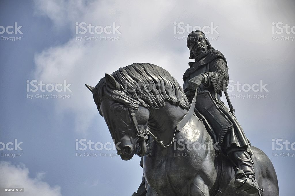 Equestrian statue in Prague stock photo