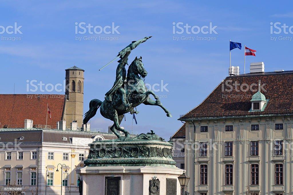 Equestrian statue of Archduke Charles of Austria, Hofburg, Vienna stock photo