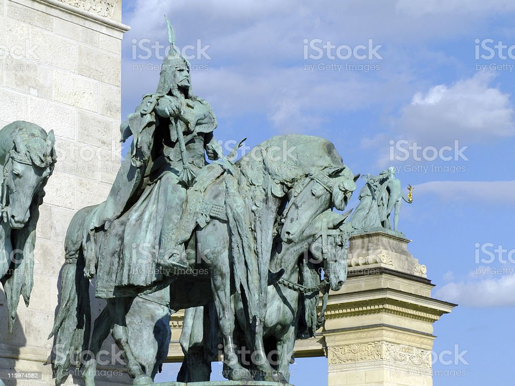Equestrian statue of Arpad stock photo