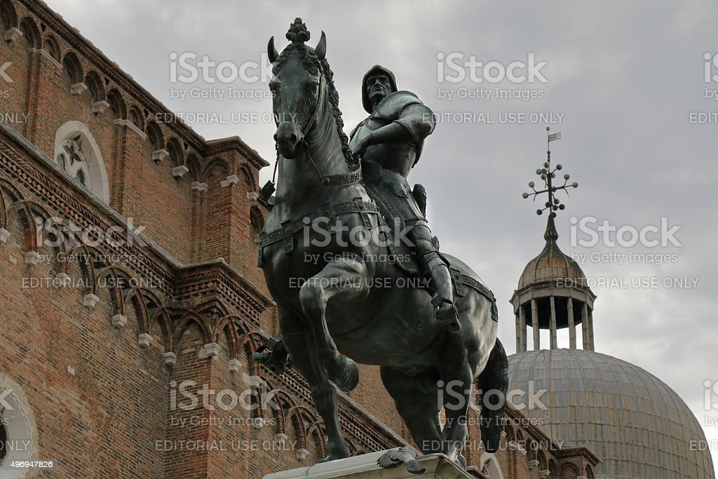 Equestrian statue of Bartolomeo Colleoni in Venice, Italy stock photo