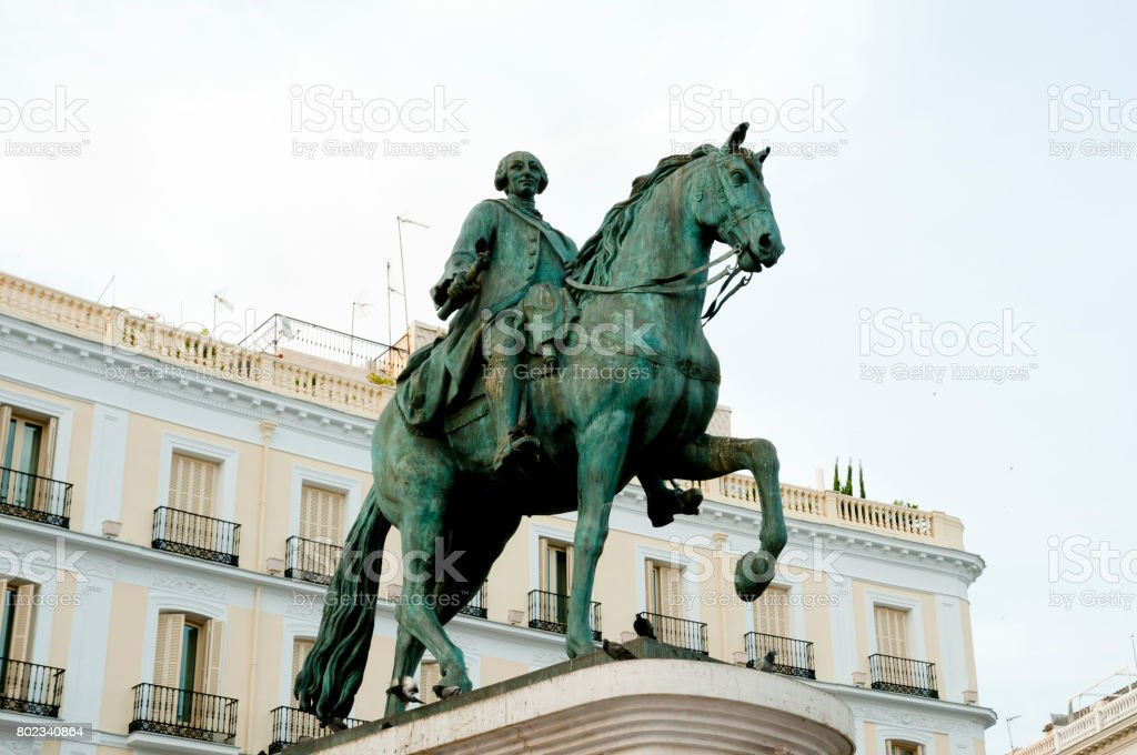 Equestrian Statue of Carlos III - Madrid - Spain stock photo