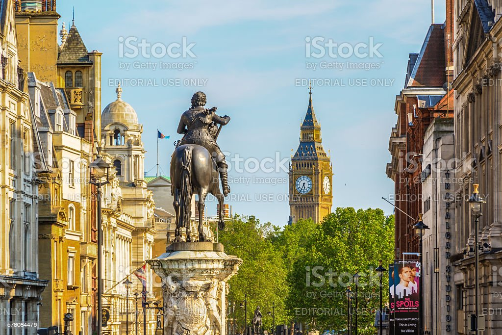 Equestrian statue of Charles I, Charing Cross stock photo