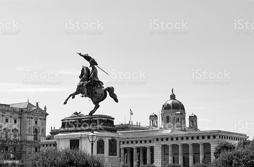 Equestrian statue of Charles of Austria in Heldenplatz stock photo