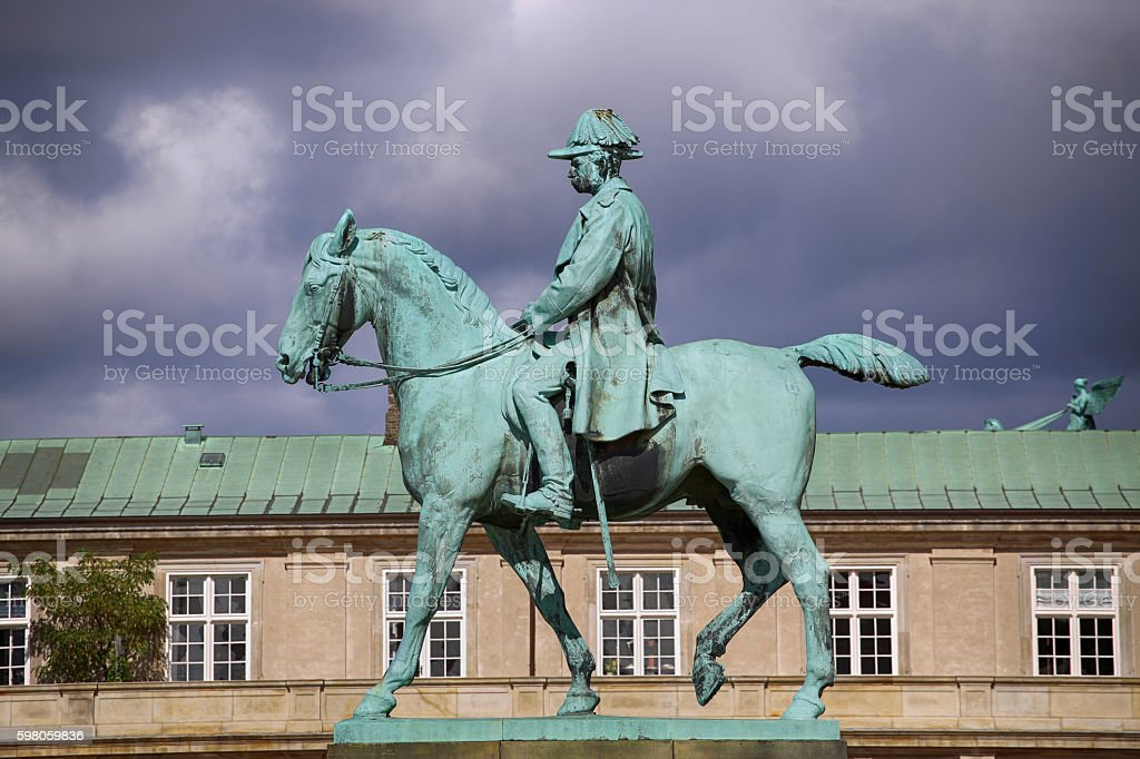 Equestrian statue of Christian IX near Christiansborg Palace, Copenhagen, Denmark stock photo