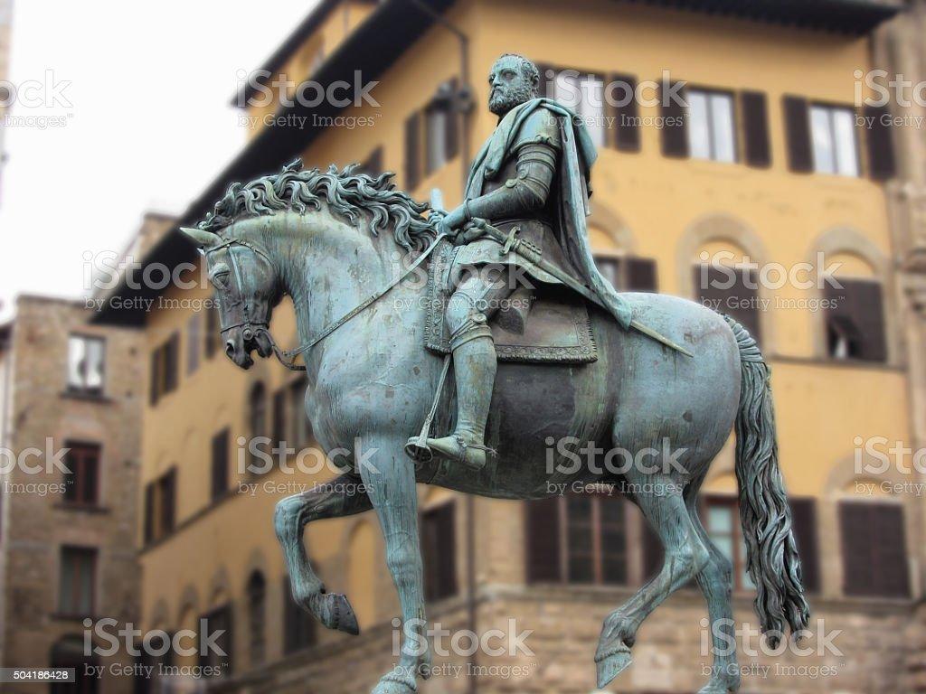 Equestrian statue of Cosimo de Medici, Florence, Italy . stock photo