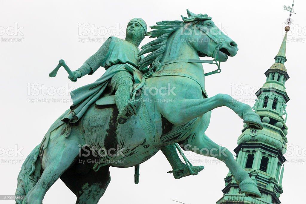 equestrian statue of Danish archbishop and statesman Absalon stock photo