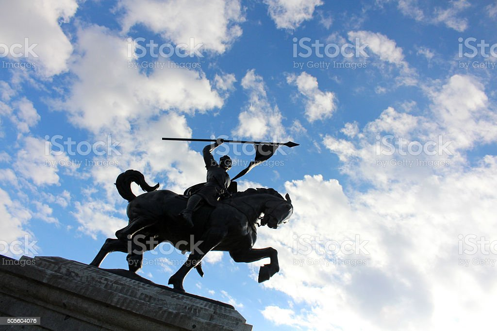 Equestrian Statue of El Cid in Seville stock photo