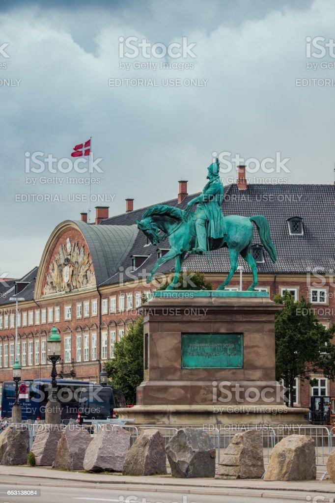 Equestrian statue of Frederick VII in Copenhagen, Denmark stock photo