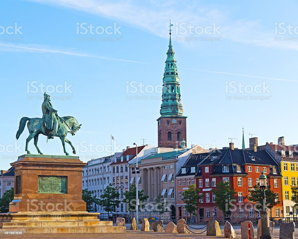 Equestrian statue of Frederik VII, Copenhagen, Denmark. stock photo