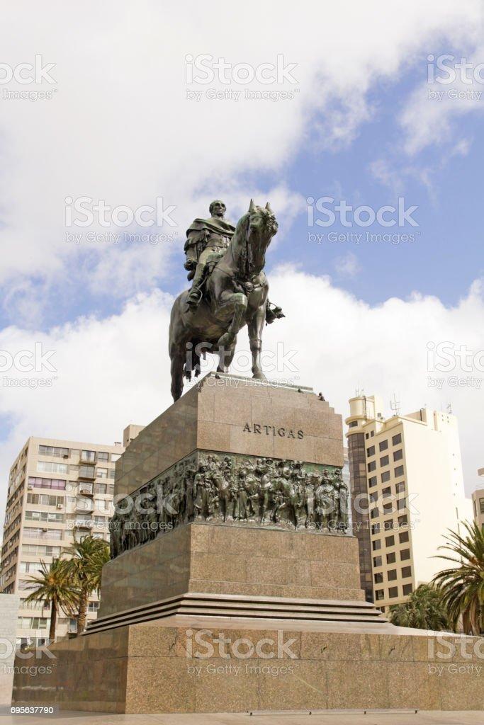 Equestrian statue of General Artigas in Montevideo, Uruguay stock photo