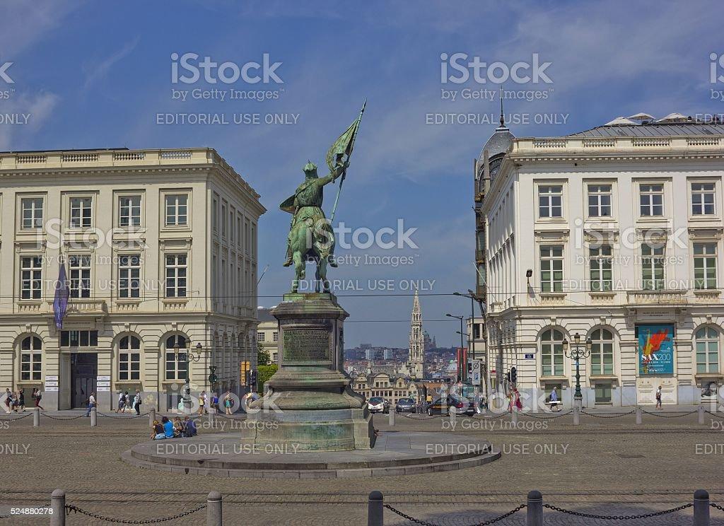 Equestrian statue of Godfrey of Bouillon in Brussels, Belgium stock photo