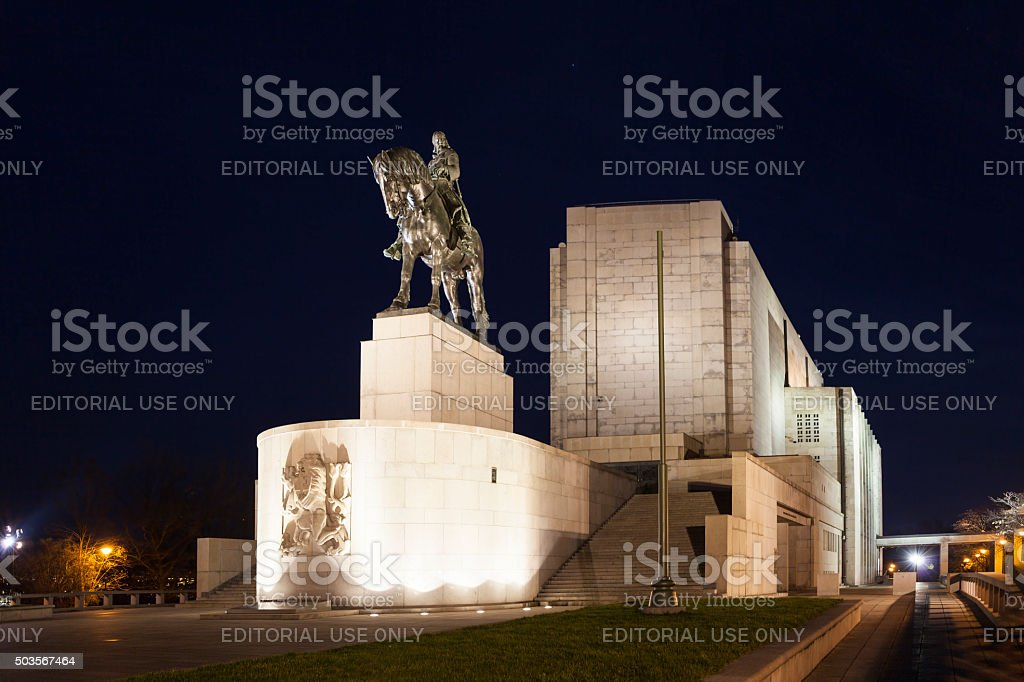 Equestrian statue of Jan Zizka on Vitkov Hill. Prague. stock photo