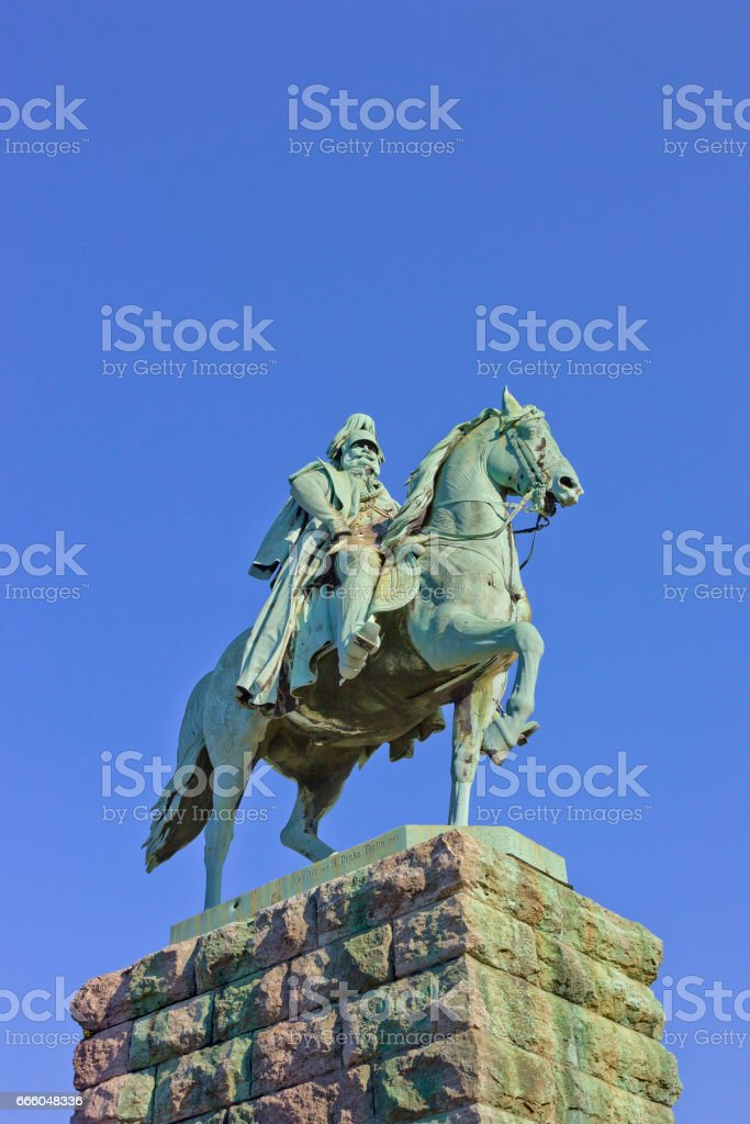 Equestrian statue of Kaiser Wilhelm I (by Friedrich Drake) on Hohenzollern Bridge ramp in in Cologne, Germany stock photo