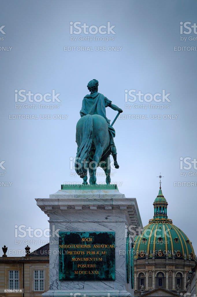 equestrian statue of King Frederick V in Copenhagen stock photo