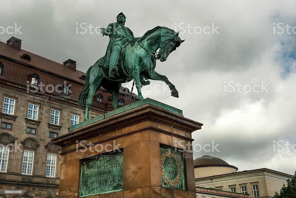 equestrian statue of King Frederik VII in Copenhagen stock photo