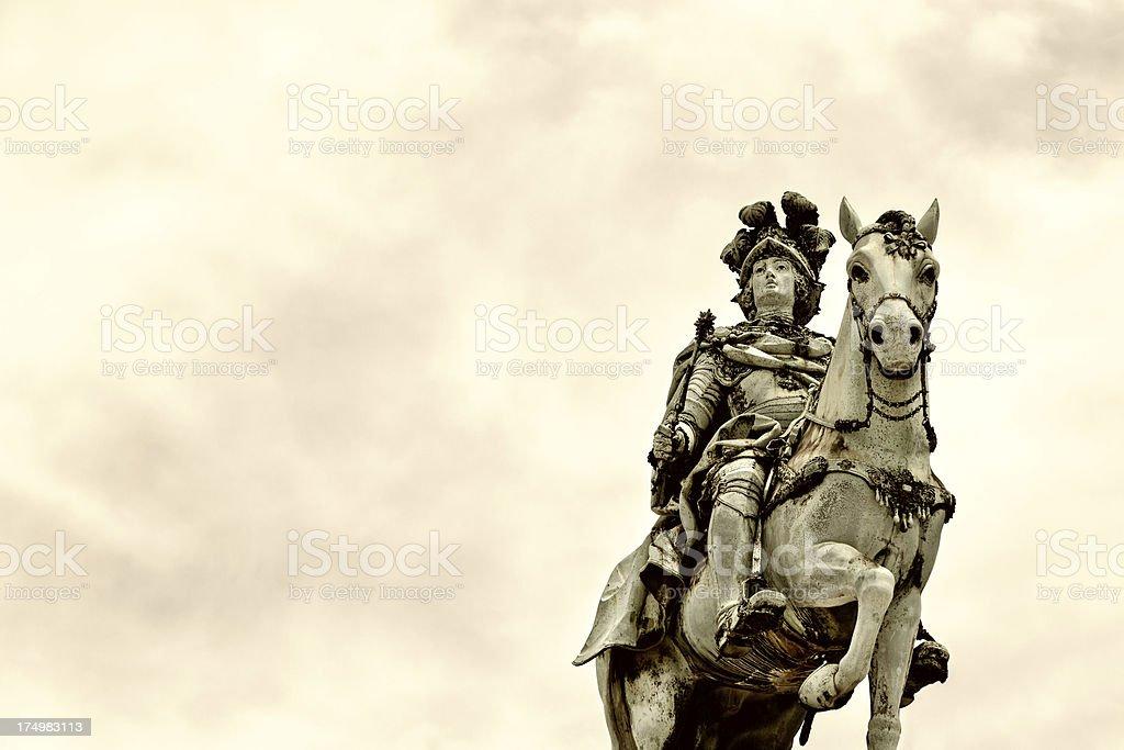 Equestrian statue of King José, Commerce Square, Lisbon, Portugal stock photo