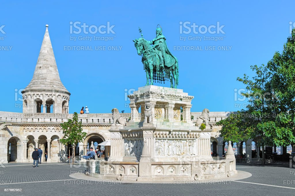 Equestrian statue of King Saint Stephen in Budapest, Hungary stock photo