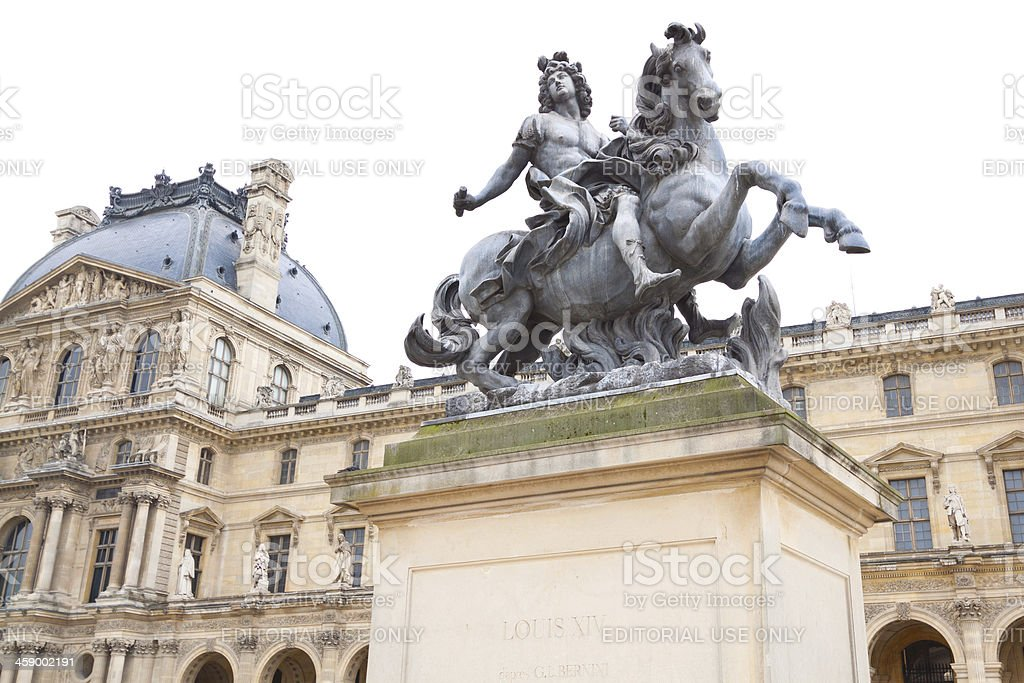 Equestrian statue of Louis XIV at Louvre courtyard, Paris. royalty-free stock photo
