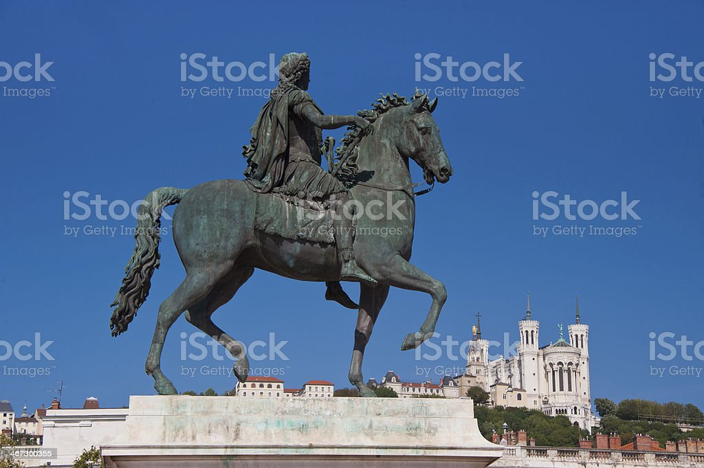 equestrian statue of louis xiv at place bellecour stock photo