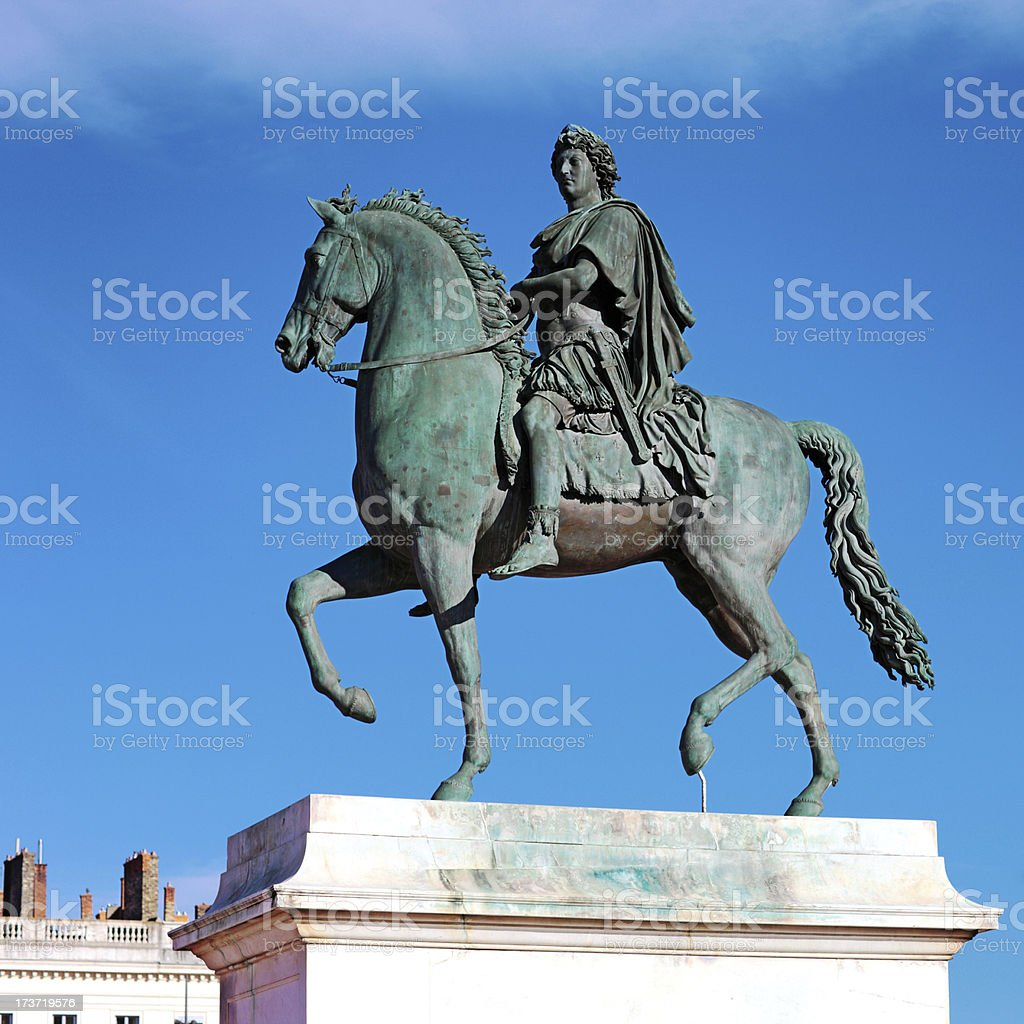 Equestrian statue of Louis XIV stock photo