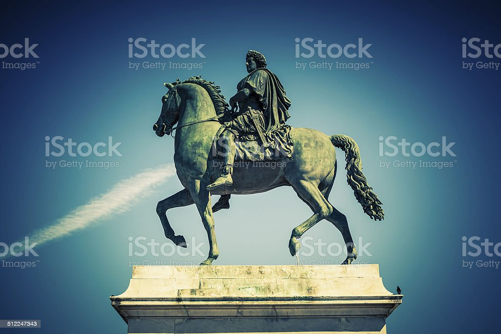 Equestrian statue of Louis XIV, special photographic processing. stock photo