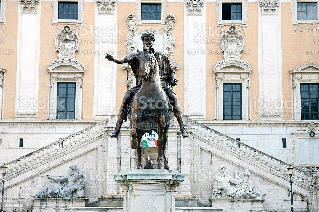 Equestrian Statue of Marcus Aurelius in Rome, Italy stock photo