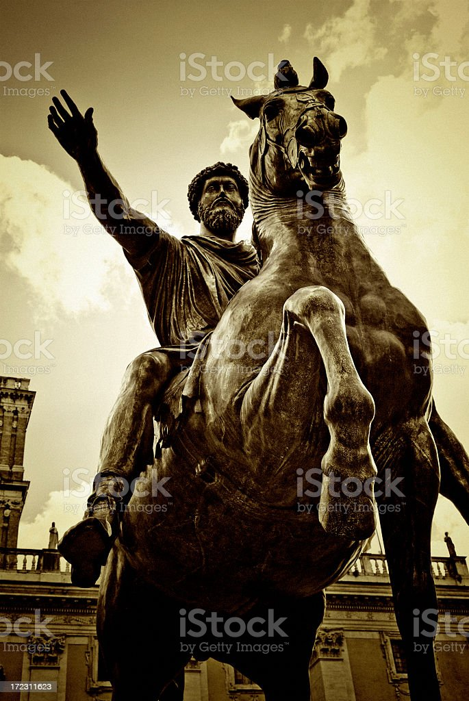Equestrian Statue of Marcus Aurelius stock photo
