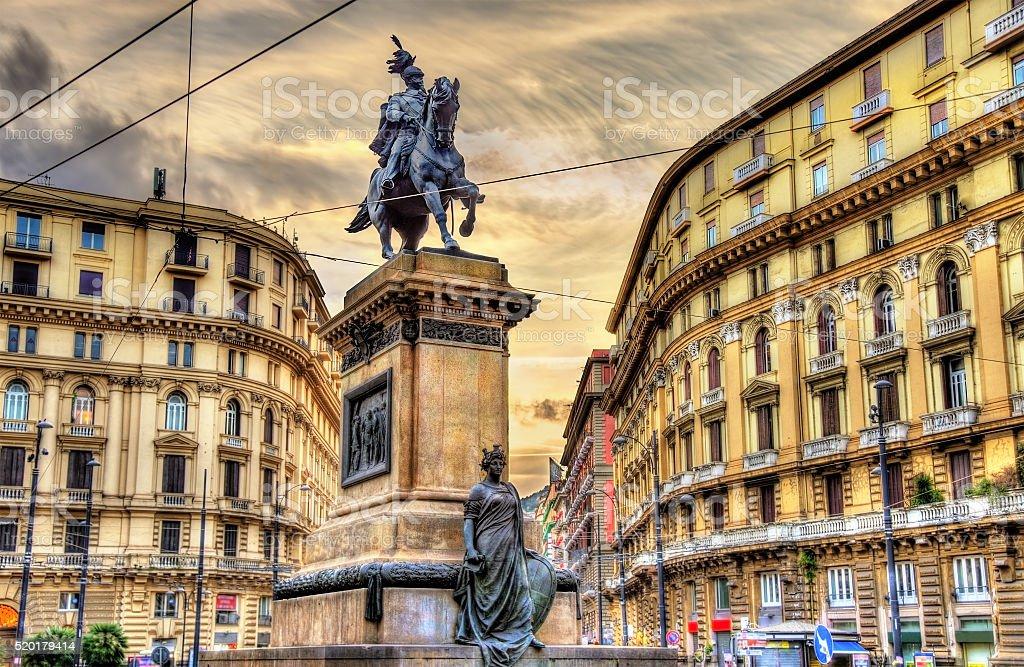 Equestrian statue of Victor Emmanuel II on Piazza Giovanni Bovio stock photo